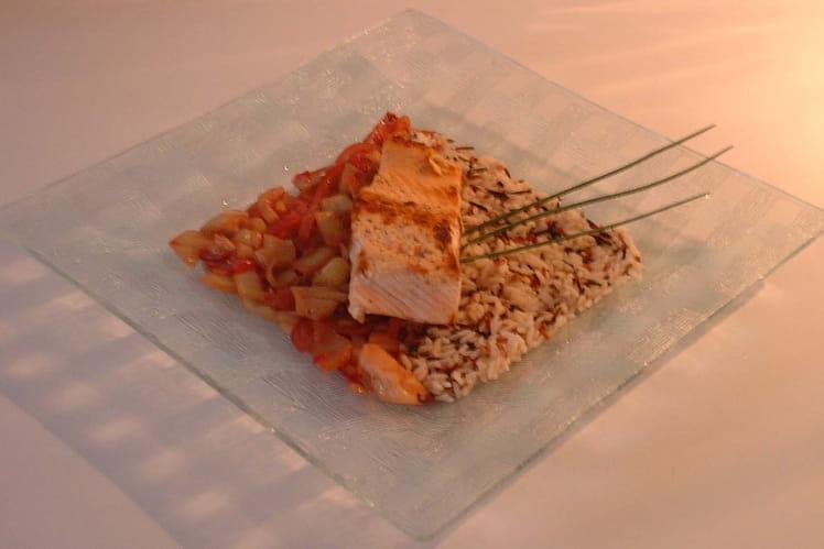 Saumon à l'unilatérale, duo de riz et fenouil