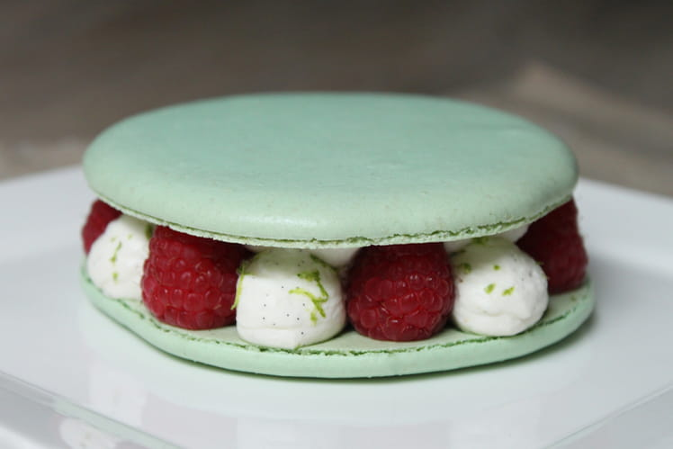 Macaron aux fruits rouges et chantilly à la vanille