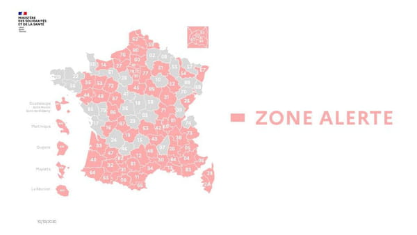 Carte des zones en alerte (couleur rose) en France au 6 octobre 2020
