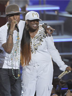 pharrell williams et la rappeuse missy elliott aux bet awards à los angeles, le