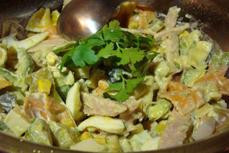 Salade de pâtes colorées jambon, avocats, oeufs, emmental, maïs
