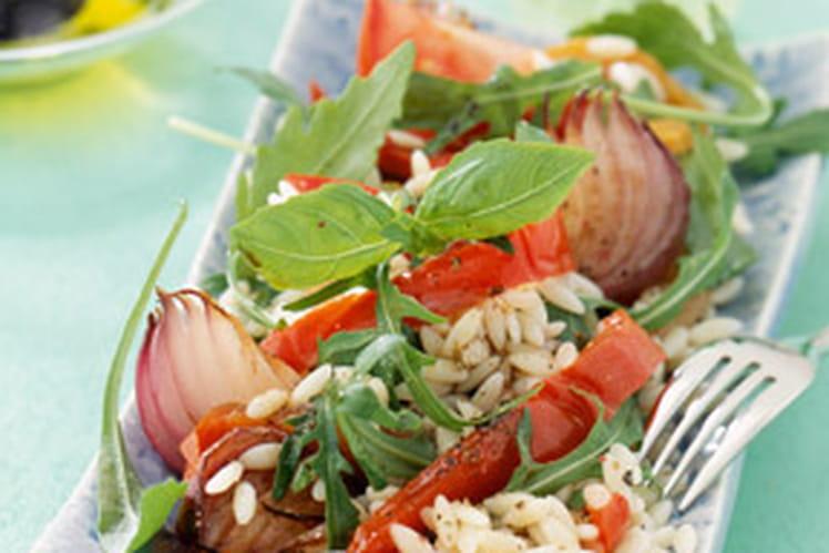 Salade de pâtes risi aux poivrons, oignons et basilic