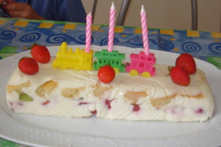 Terrine fondante aux kiwis, fraises et chocolat blanc