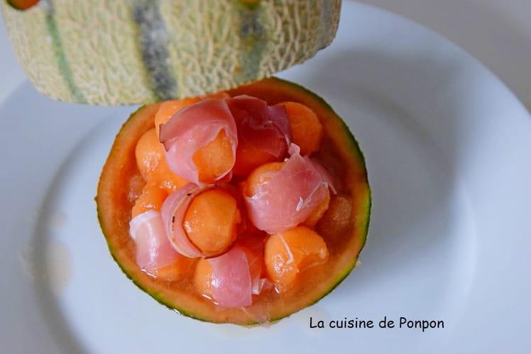 Billes de melon enrobées de jambon d'Ardenne, granité de melon