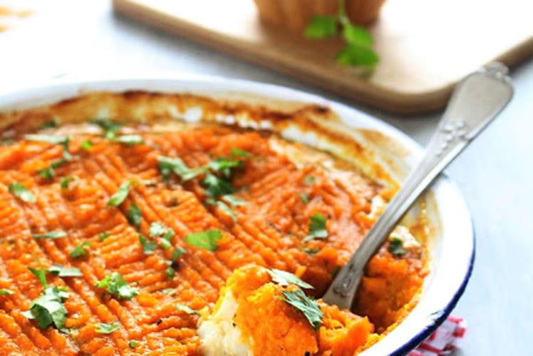 Parmentier de cabillaud et patates douces au curry-cumin