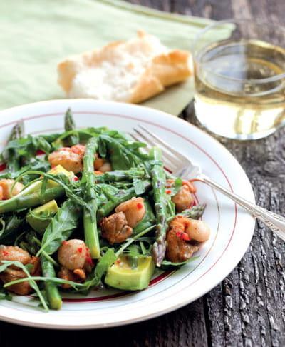 salade d'asperges aux pois gourmandset aux saint-jacques, annabel au naturel,