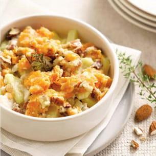 crumble de pommes de terre, mimolette et colin