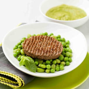 steak haché, petits pois