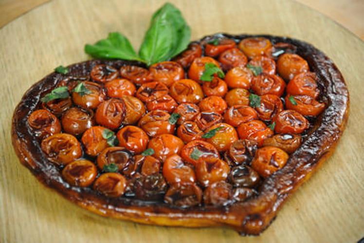 Recette de tatin de tomates cerises et son caramel de balsamique la recette facile - Recette tarte salee originale ...