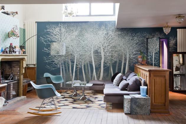 Décor mural fantaisie bleu au salon