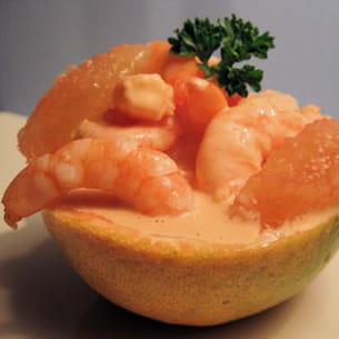 cocktail de crevettes et pamplemousse