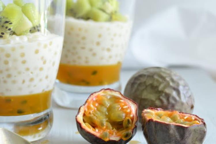 Verrines aux perles du Japon, gelée de fruits de la passion, kiwi