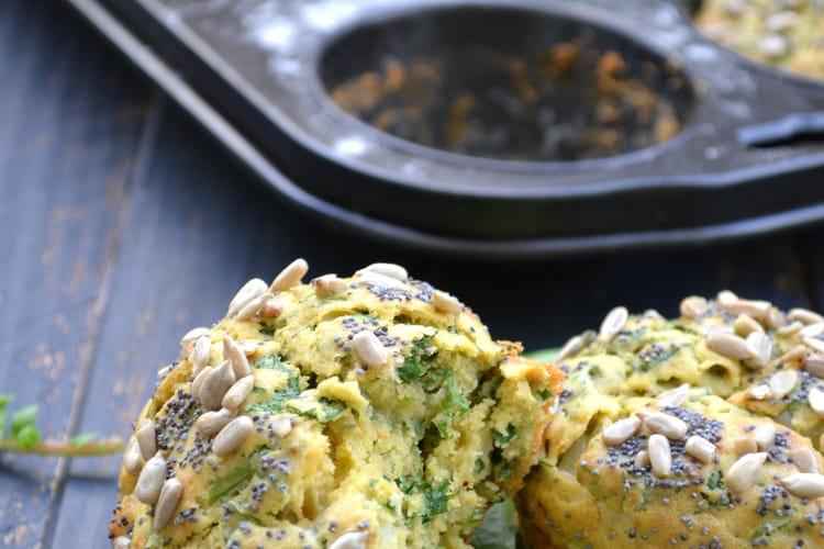 Muffins salés aux fanes de radis et au chèvre