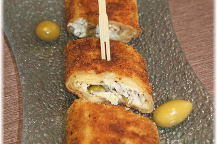 Roulés panés au poulet et olives