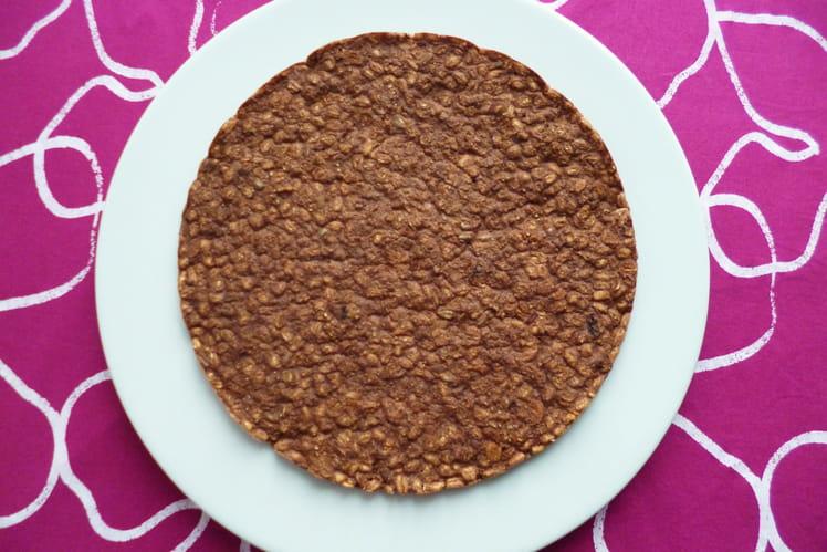 Pancake XXL végan hyperprotéiné chocolat-blé complet soufflé-son d'avoine-muesli