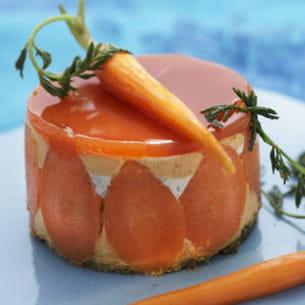 cheesecake fraîcheur, en duo carottes et herbes