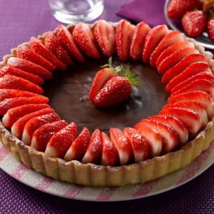 tarte chocolatée aux fraises de plougastel