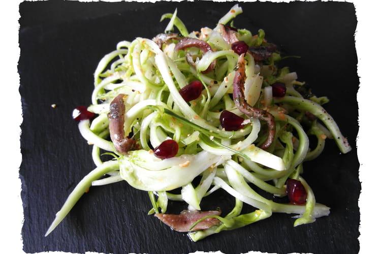 Salade de puntarelle ou chicorée de Catalogne