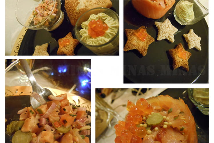 Tartare de saumon en trio à la coriandre fraîche et sa crème d'avocat