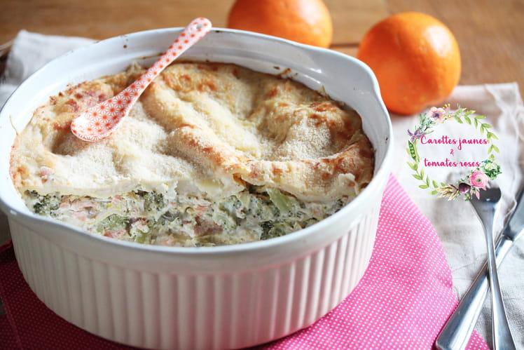 Lasagnes brocoli, saumon fumé et orange