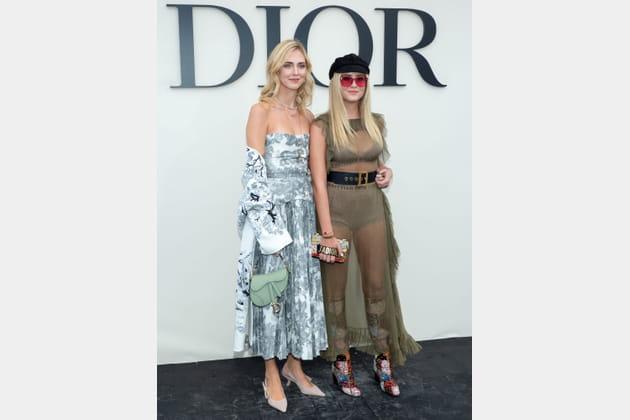 Valentina et Chiara Ferragni au défilé Christian Dior