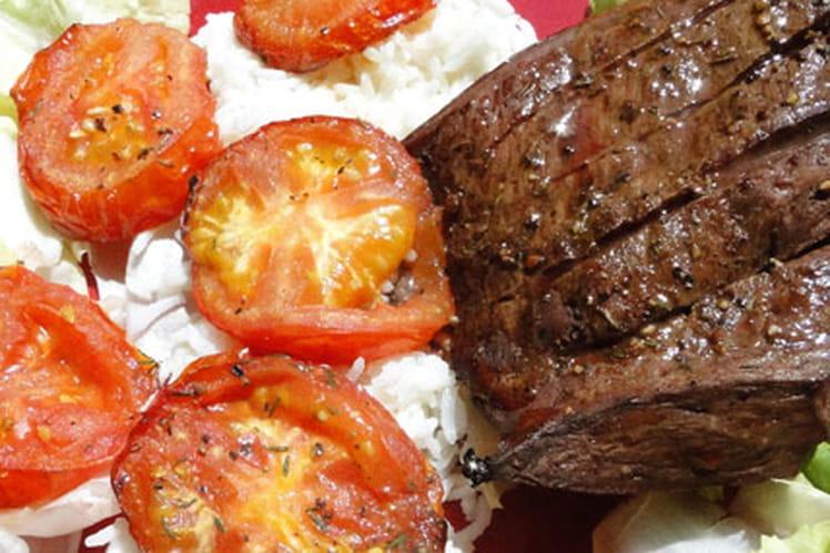 Recette de tranche de c ur de b uf grill e aux tomates - Cuisiner le coeur de boeuf ...
