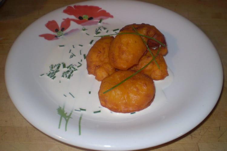 Beignets de potiron crème ciboulette