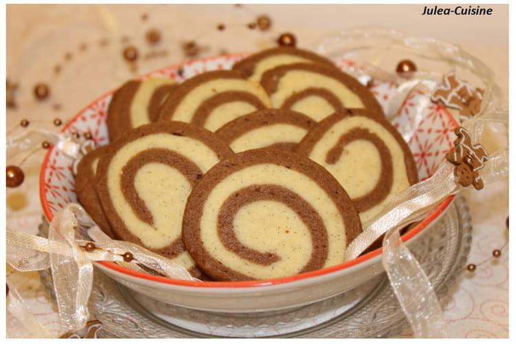 Biscuits spirales chocolat et vanille