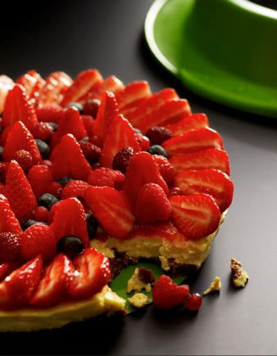 cheesecake aux fruits rouges et spéculoos® de christophe michalak.