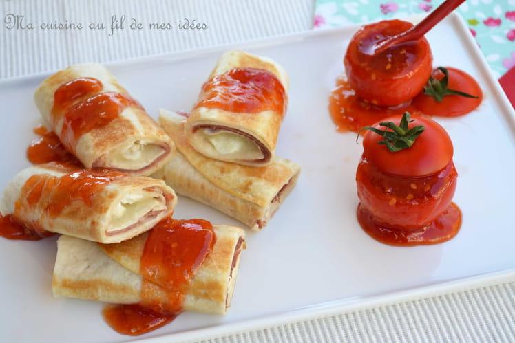 Wraps au fromage de chèvre, jambon fumé Ganda et confiture de tomates