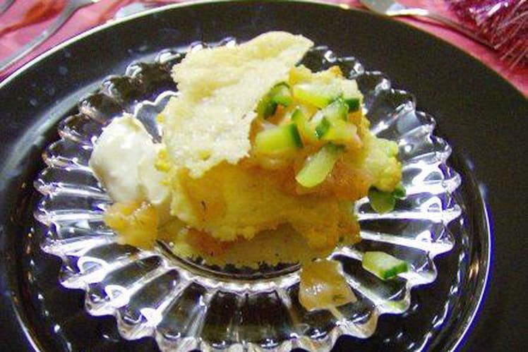 Chips au parmesan et saumon en tartare