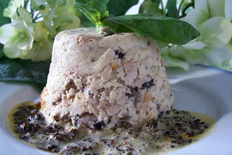 Flans de champignons et beurre de basilic