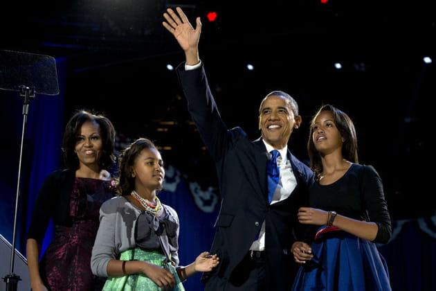 Michelle et Barack Obama accompagnés de Malia et Natasha