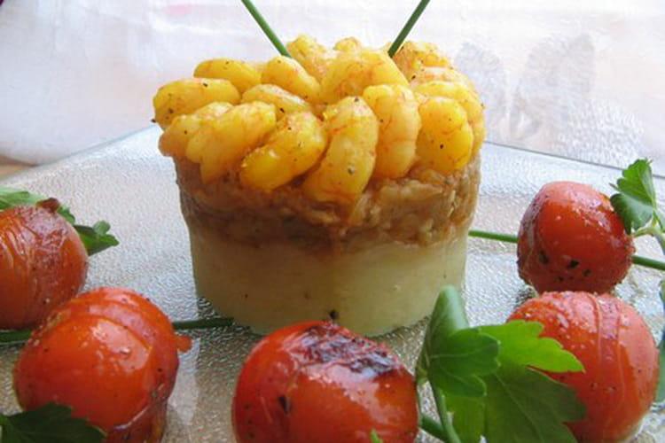 Timbale de légumes orientale et crevettes au safran
