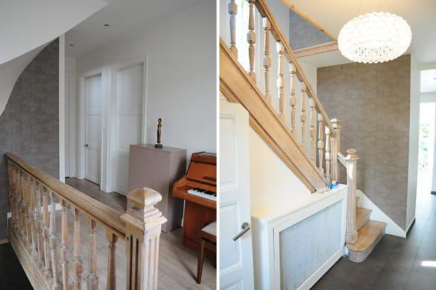 une d co raffin e et discr te dans la mont e d 39 escalier. Black Bedroom Furniture Sets. Home Design Ideas