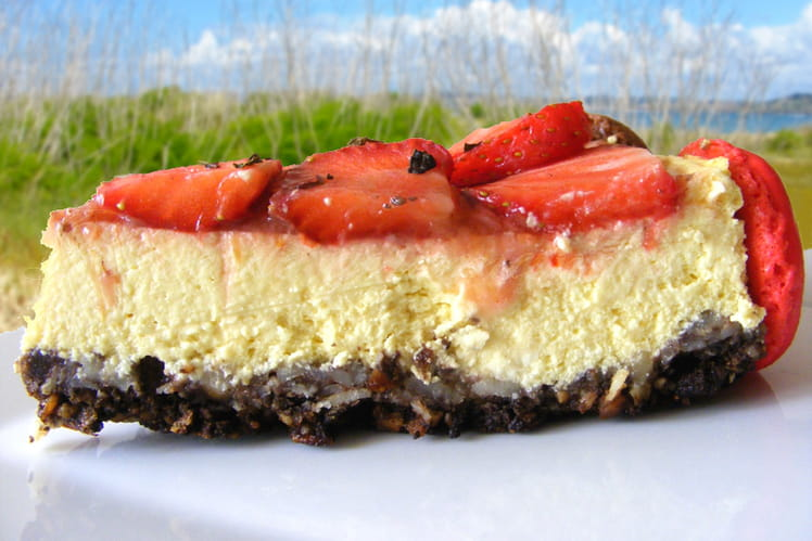 Cheesecake printanier, base muesli, choco, amandes