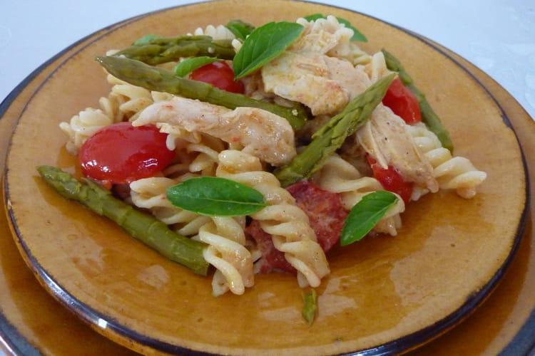 Salade de pâtes aux asperges vertes et au poulet