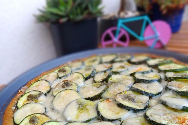 Tarte fine courgettes pesto parmesan