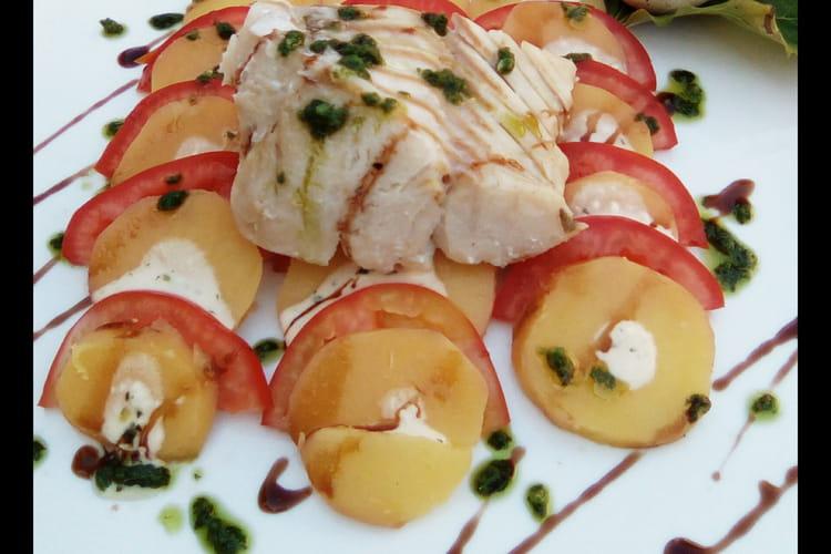 Cabillaud aux pommes de terre et tomates et pesto de coriandre