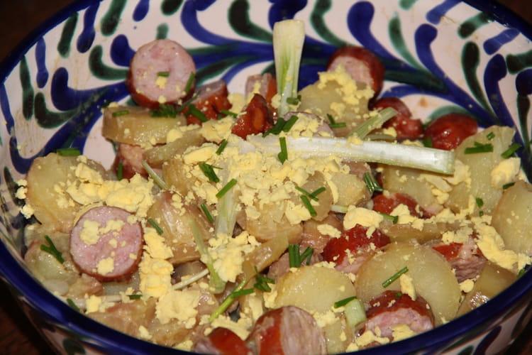 Recette de salades de pommes de terre aux saucisses fum es - Cuisiner des saucisses fumees ...