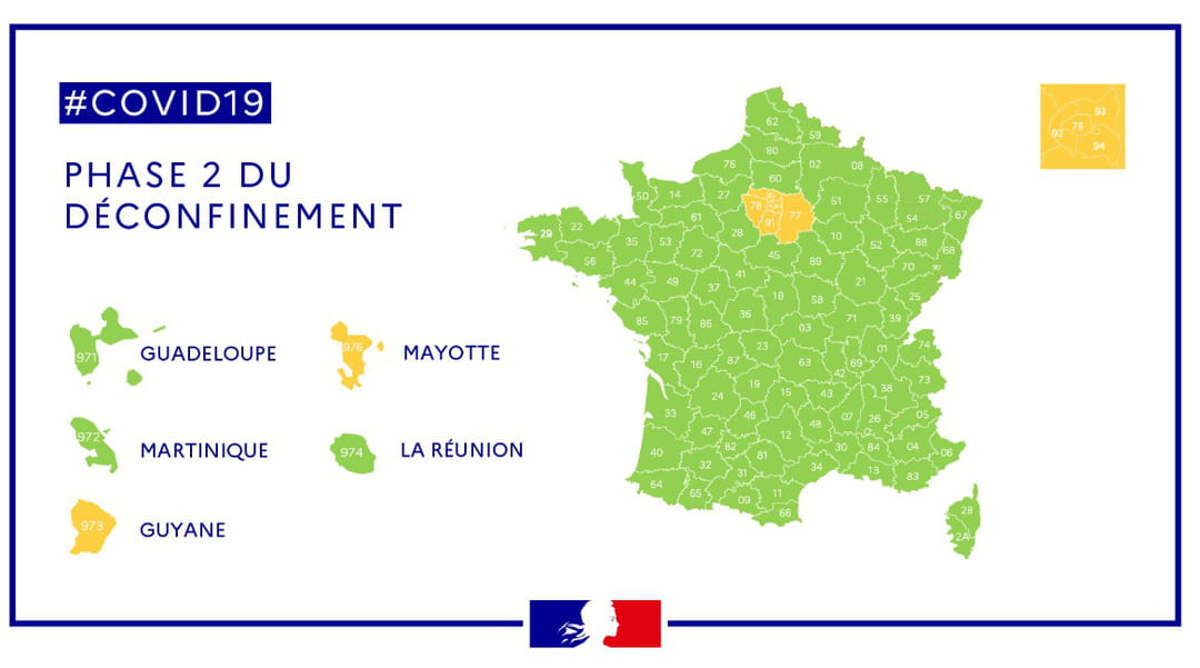 carte zone verte orange département france coronavirus