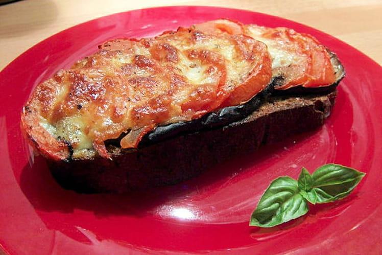 Tartines délice aubergines, tomates, mozzarella