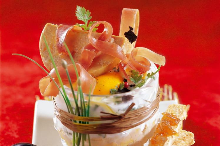 Recette oeuf cocotte au jambon cru et au foie gras la recette facile - Cuisiner un foie gras cru ...