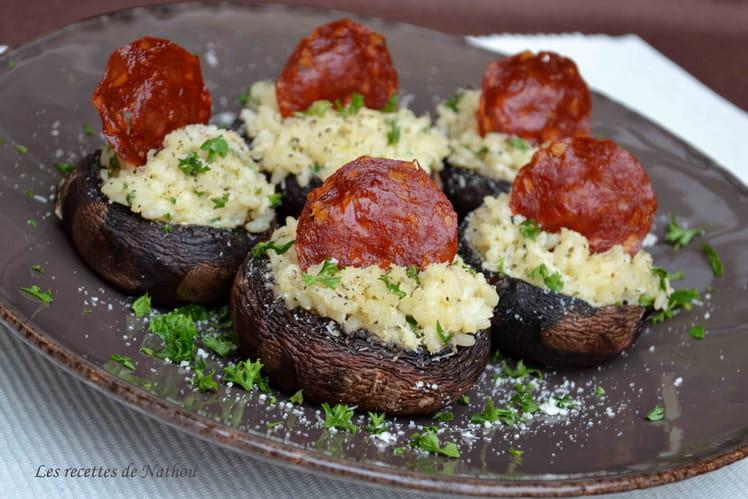 Champignons farcis au risotto, chèvre et chorizo