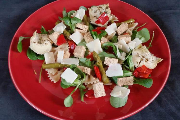 Salade de tofu, pâtes et roquette