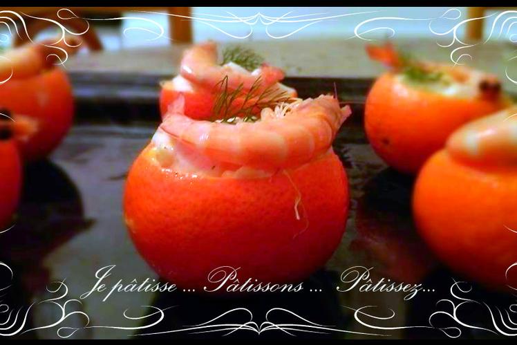 Clémentines farcies aux crevettes et fromage frais