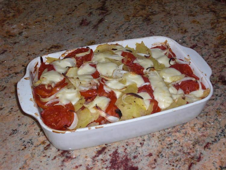 recette de gratin l ger de pommes de terre et de tomates. Black Bedroom Furniture Sets. Home Design Ideas