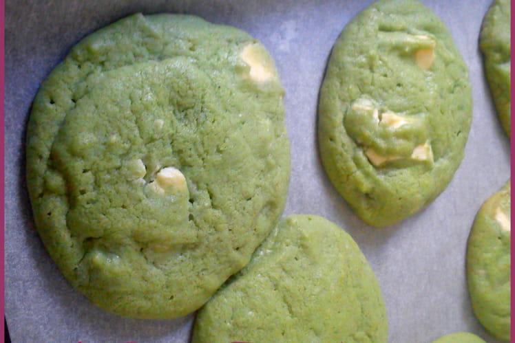Cookies martiens à la pistache et chocolat blanc