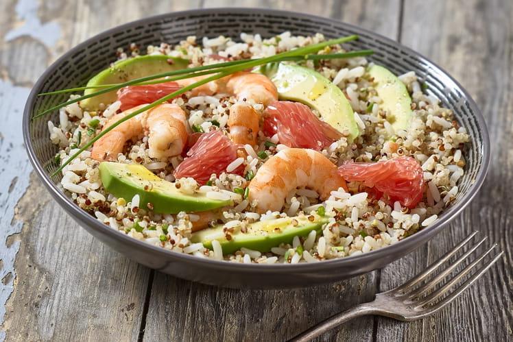 Salade Trésor Inca, crevettes, avocat et pamplemousse