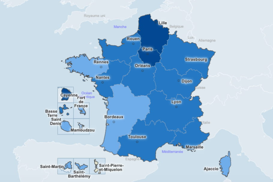 CARTE COVID : incidence départements, vaccination, France, Europe